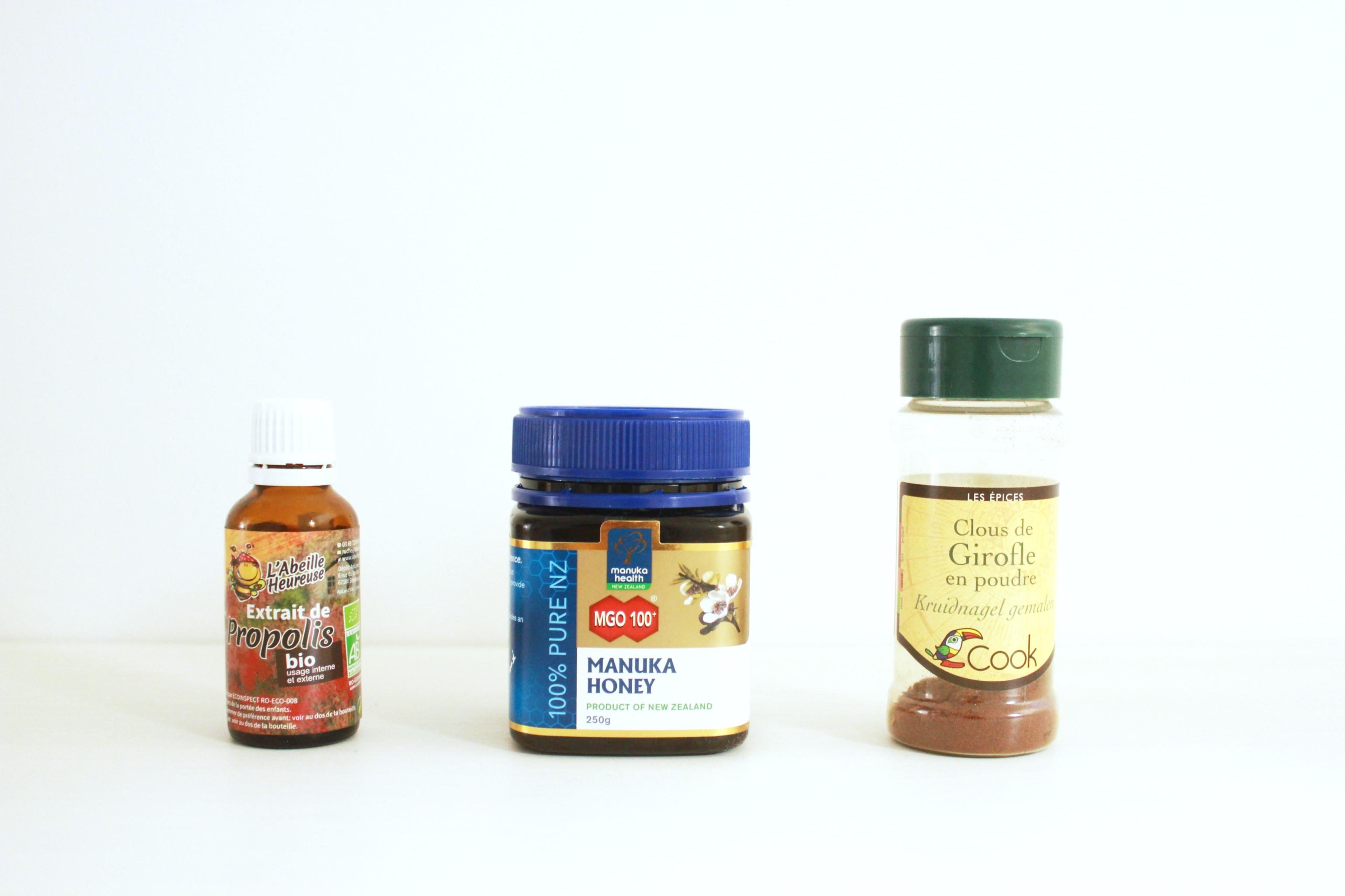 Propolis, Miel de Manuka, Clous de Girofle solution carrie